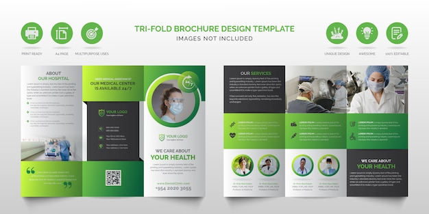 Brochura dobrável em três partes profissional multiuso verde e preto profissional corporativa ou modelo de design de brochura com três dobras de negócios de cuidados de saúde médicos