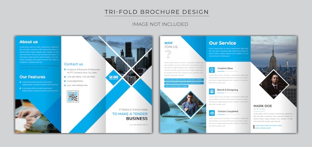 Brochura dobrável em três partes