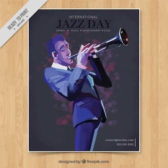 Brochura elegante brochura jazz com o trompetista ilustrado