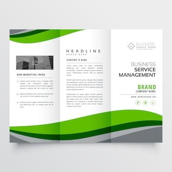Brochura elegante do negócio verde trofold