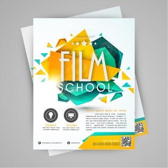 Brochura escola de cinema com formas geométricas