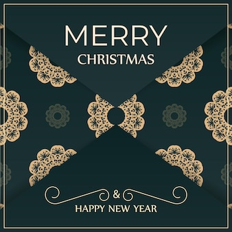 Brochura festiva de feliz ano novo em verde escuro com ornamentos amarelos luxuosos