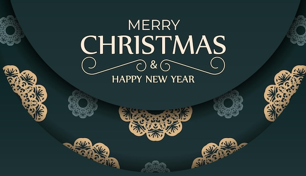 Brochura festiva de feliz ano novo em verde escuro com padrão abstrato amarelo