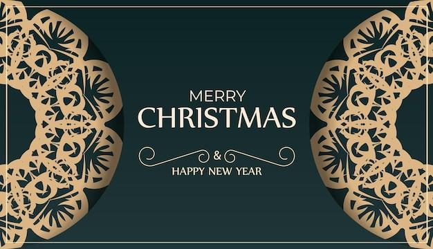 Brochura festiva de feliz ano novo em verde escuro com padrão de inverno amarelo