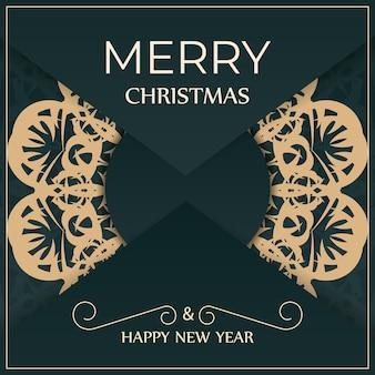 Brochura festiva de feliz ano novo em verde escuro com um luxuoso padrão amarelo