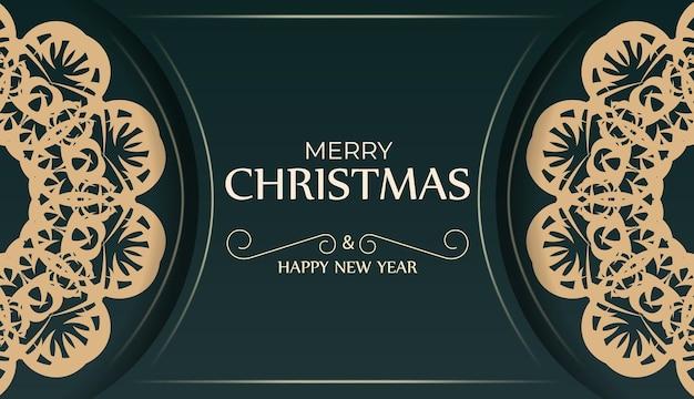 Brochura festiva feliz ano novo em verde escuro com enfeite amarelo abstrato