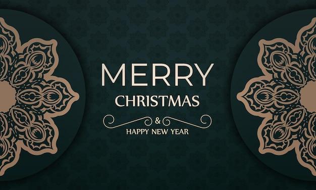 Brochura festiva feliz natal e feliz ano novo em verde escuro com enfeites vintage amarelos