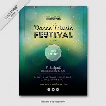 Brochura festival de música com efeito borrado