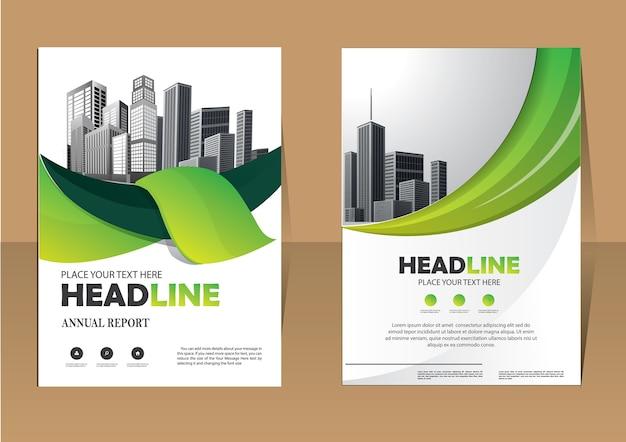 Brochura flyer layout modelo de negócio para o relatório anual Vetor Premium