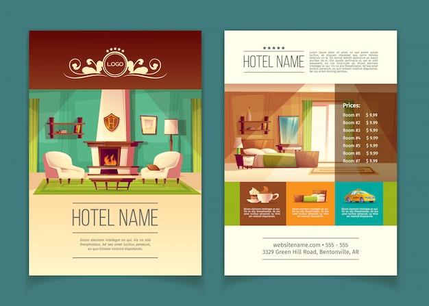 Brochura, folheto publicitário com apartamentos de hotel, quartos com mobília