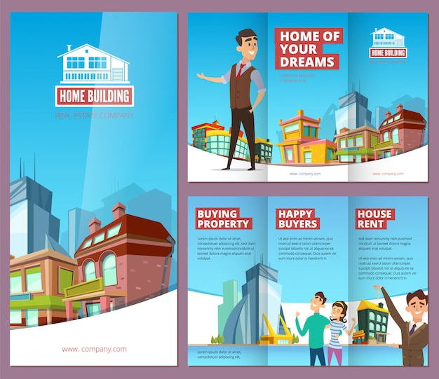 Brochura imobiliária. impressão de banners com compradores felizes de imóveis grandes edifícios e folheto da empresa de serviços de aluguel de casa
