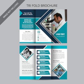 Brochura médica dobrável em três partes