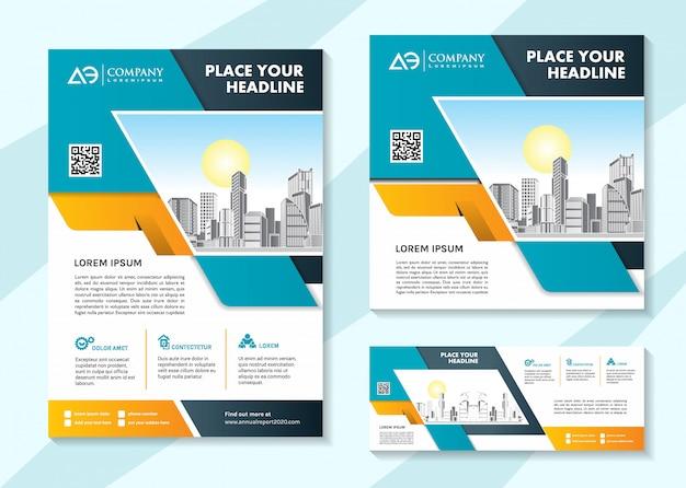 Brochura modelo de mídia social e modelo de banner
