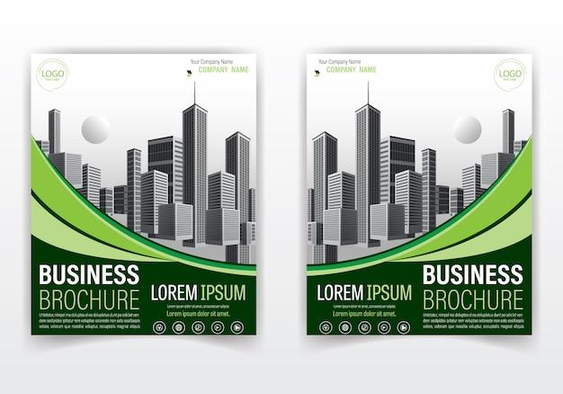 Brochura moderna e capa design cor verde