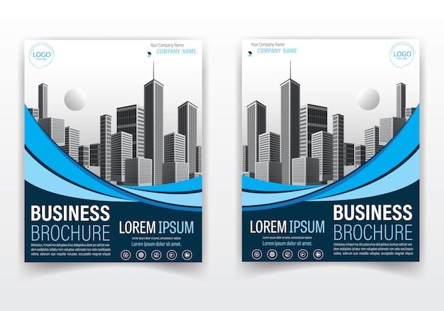 Brochura moderna e design da capa de cor azul