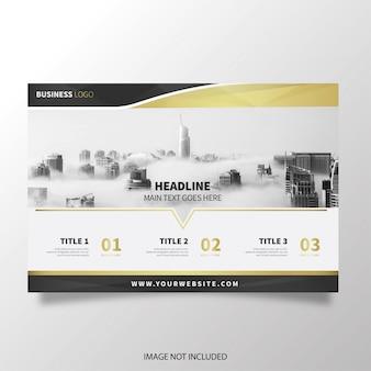 Brochura moderna horizontal com formas douradas