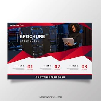 Brochura moderna horizontal com formas vermelhas