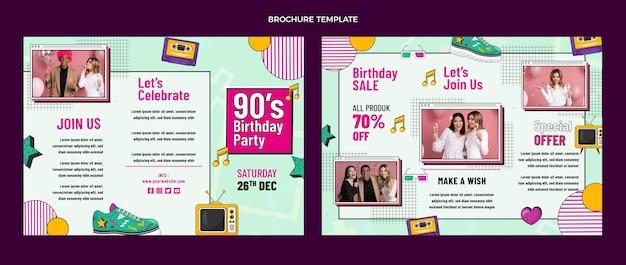 Brochura nostálgica do aniversário dos anos 90 desenhada à mão