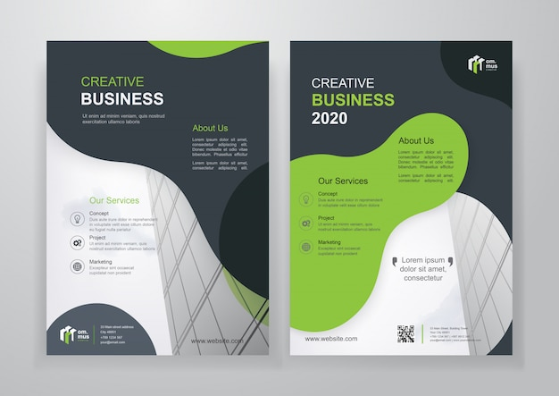 Brochura ou folheto bifold de negócios de forma ondulada verde