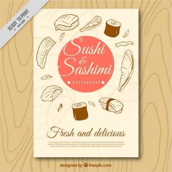 Brochura para sushi e sashimi esboços