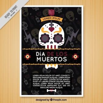 Brochura plano com uma caveira mexicana para o dia dos mortos