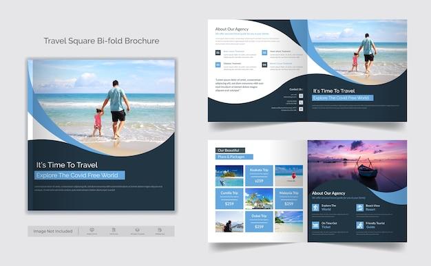 Brochura quadrada de negócios de viagens bifold