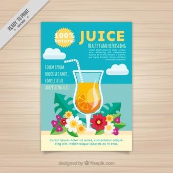 Brochura sumo de laranja no design plano