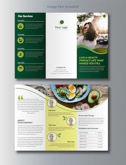 Brochura tri-fold em nutrição natural