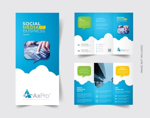 Brochura trifold de mídia social