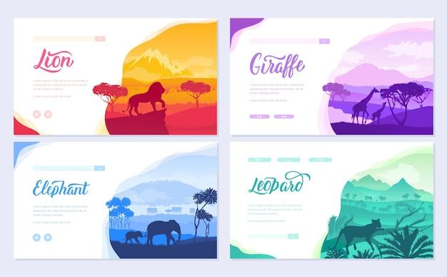 Brochuras com animais africanos em habitat natural. modelo de flyear, cabeçalho da interface do usuário, insira o site.