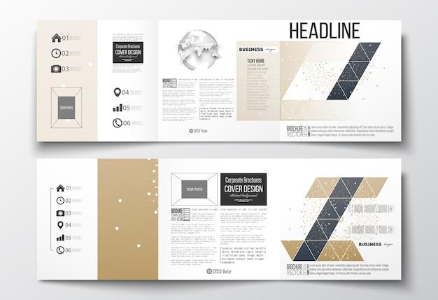 Brochuras com dobra tripla, modelos de design quadrado