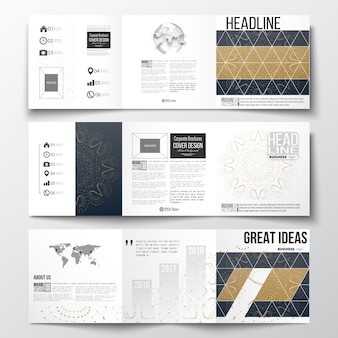 Brochuras com dobra tripla, modelos de design quadrado.