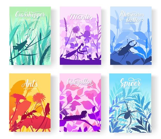 Brochuras com insetos no microcosmo. conjunto de folhetos com besouros no meio ambiente.
