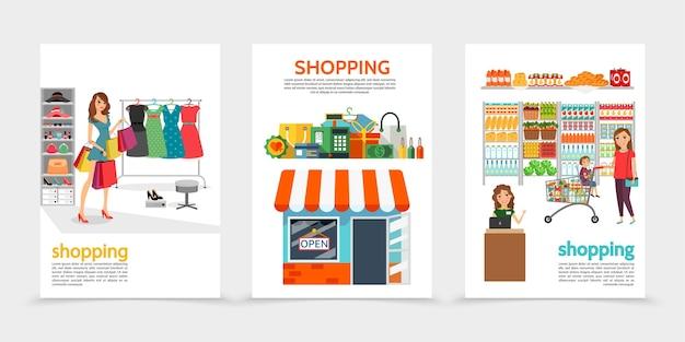 Brochuras de compras planas