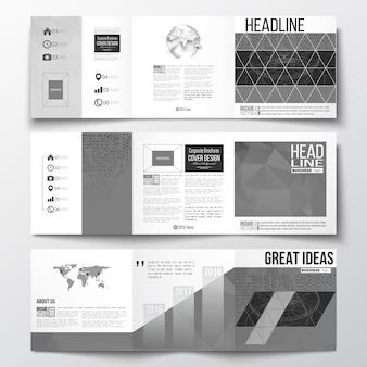 Brochuras de design de três dobras, modelos de design quadrados.