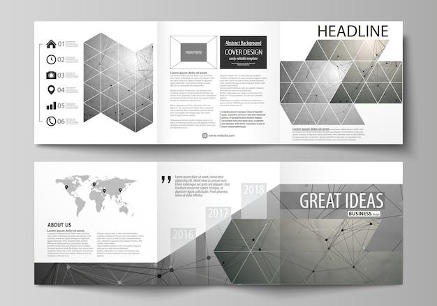 Brochuras de design quadrado tri fold.