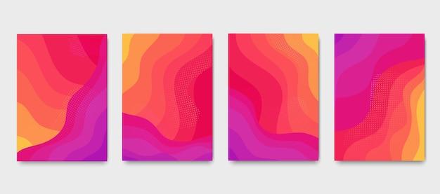 Brochuras de gradiente ondulado de chama ardente. conjunto de cartazes modernos líquidos coloridos abstratos.