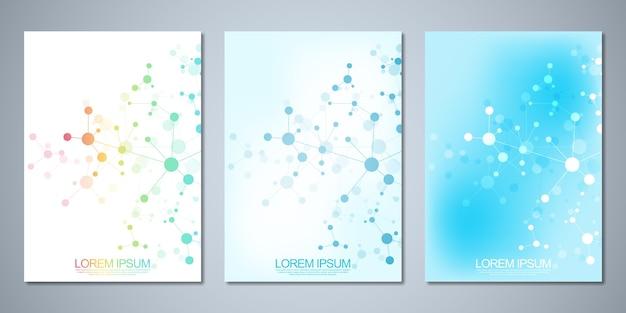 Brochuras de modelo ou capa, livro, folheto, com fundo de moléculas e rede neural.