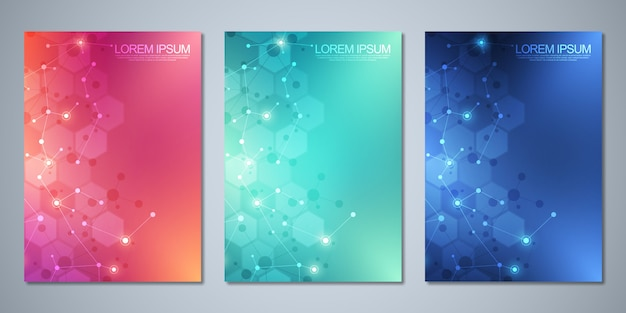 Brochuras de modelo ou capa, livro, folheto, com fundo de moléculas