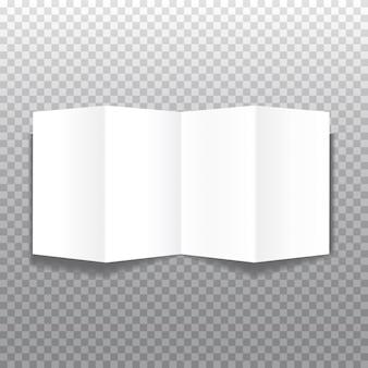 Brochuras de papel bifold realista sobre fundo cinza com sombras suaves. modelo de livreto. ilustração.