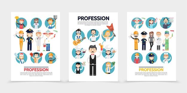 Brochuras de profissões planas com estilista fazendeiro construtor médicos policiais pintores carteiro