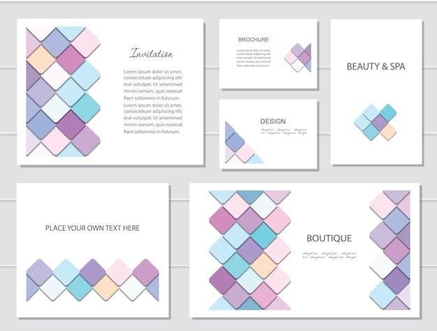 Brochuras, folhetos e modelos de cartão de visita.