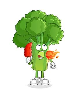 Brócolis comem mascote de pimenta quente. desenho animado