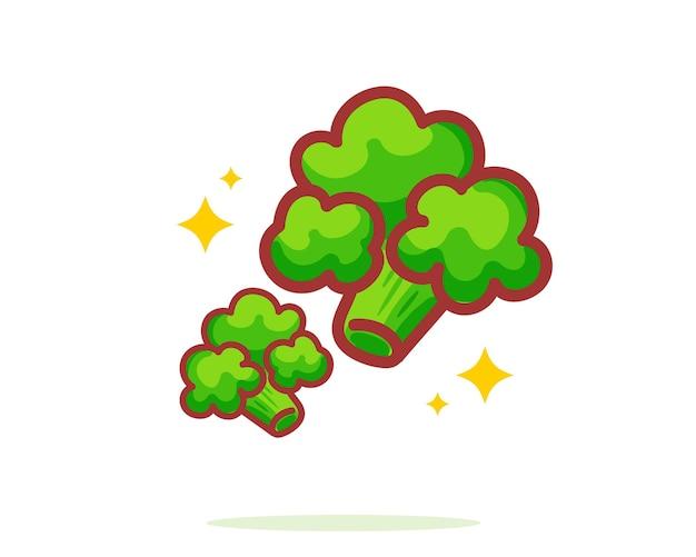 Brócolis desenhado à mão cartoon art illustration