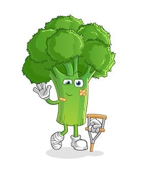 Brócolis doente com personagem de pau mancando. mascote dos desenhos animados