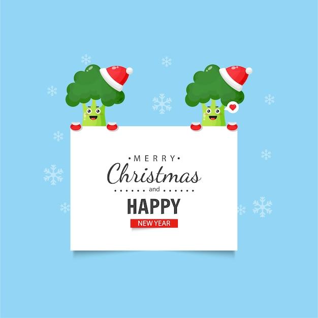 Brócolis fofo com desejos de natal e ano novo