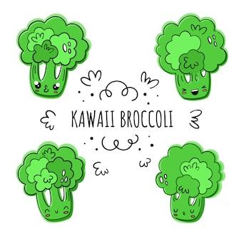 Brócolis, vetor definido no estilo kawaii