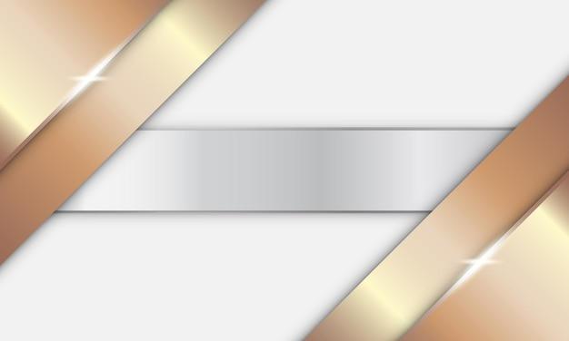 Bronze metálico brilhante abstrato com listras prateadas brilhantes no fundo branco
