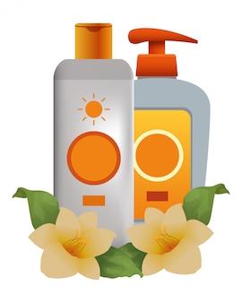 Bronzeadores de sol cosméticos com flores