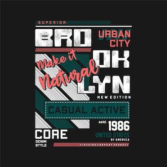 Brooklynnew york estados unidos esporte tipografia gráfica design de camisetas vetor
